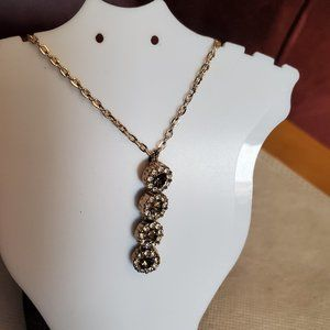 """20"""" Gold Tone Yellow Glass Tiered Pendant Necklace"""